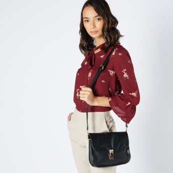 Sasha Satchel Bag with Metallic Closure and Adjustable Strap