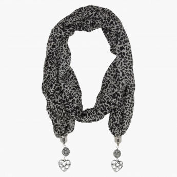 Adore Embellished Print Scarf Necklace