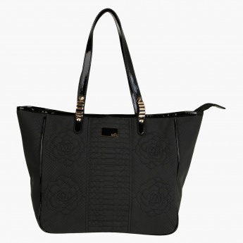 Sasha Lizard-skin Texture Shopper Bag