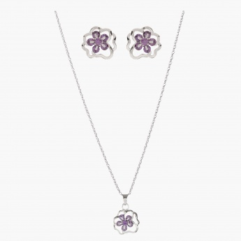 Sasha Floral Accent Necklace and Earrings Set