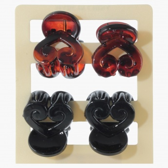 Adore Assorted Heart-shaped Hair Clamps - Set of 4