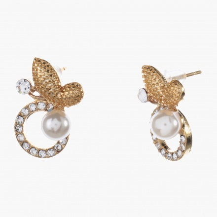 Adore Butterfly Accent Embellished Stud Earrings