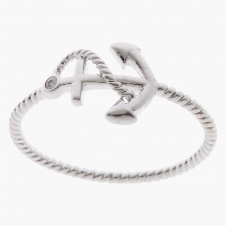 Sasha Anchor Accent Finger Ring - Size 7
