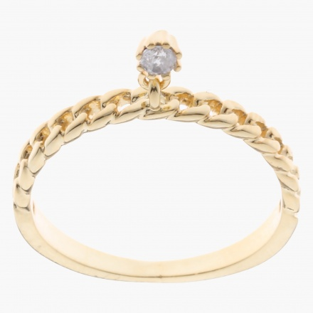 Sasha Crystal Charm Finger Ring - Size 8