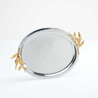 Metallic Serving Tray with Handles