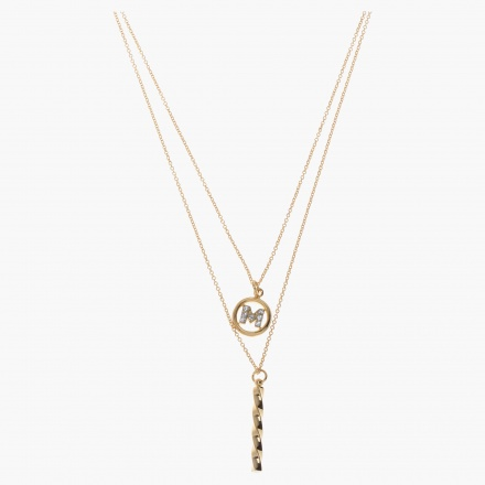 Sasha Initial M Multi-layered Necklace