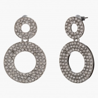 Sasha Crystal-studded Round Dangler Earrings