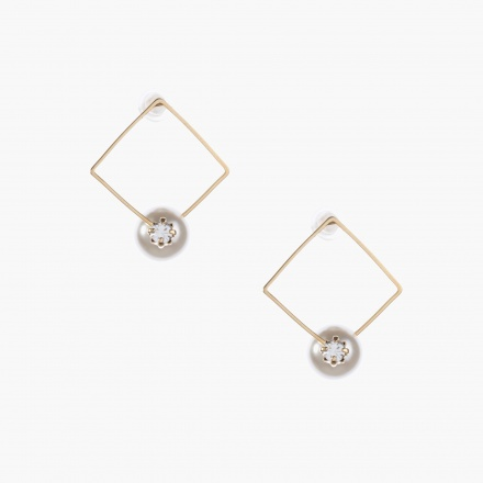 Adore Pearl-embellished Square Earrings