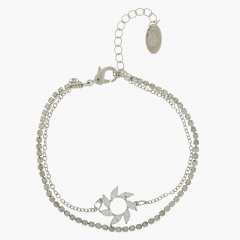 Sasha Crystal and Leaf-embellished Bracelet