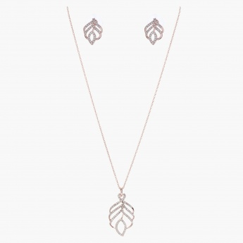 Sasha Leaf-shaped Jewellery Set with Stone Embellishments