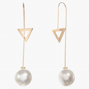 Adore Drop Earrings with Triangle and Pearl Accents