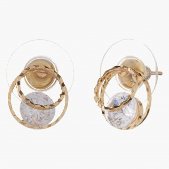 Sasha Circle Accent Earrings with Crystal
