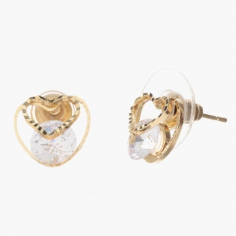 Sasha Heart Accent Earrings with Crystal