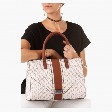 Guess Monogram Print Satchel Bag