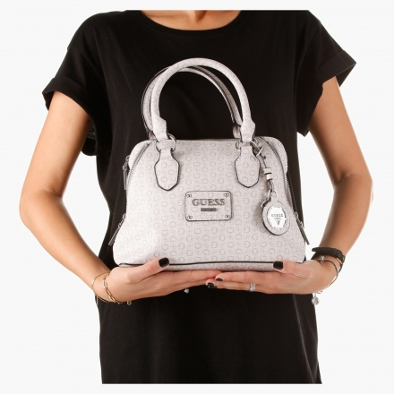Guess Signature Print Satchel Bag