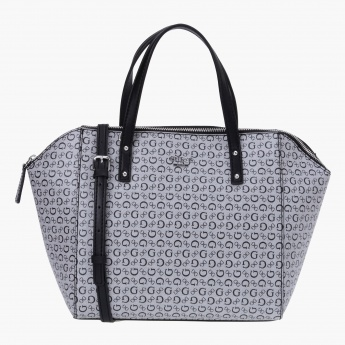 Guess Signature Printed Satchel Bag