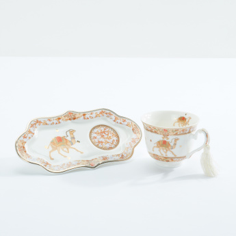 Printed Tasssel Detail Tea Cup with Long Saucer