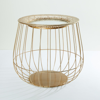 Cage Shaped Metallic Table with Cutwork Border