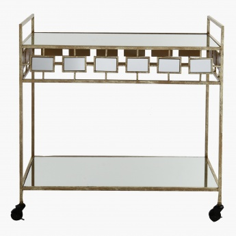 Metallic Trolley with Glass Top
