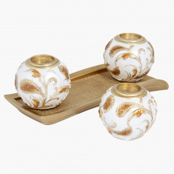 Elite d'Art Tealight Holder with Tray - 33.6x12x11 cms