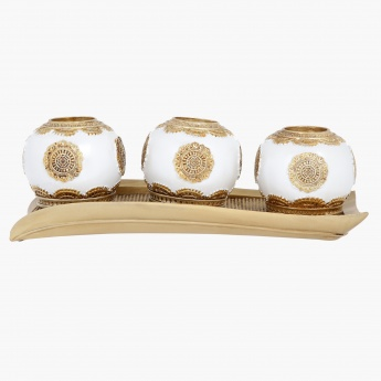 Tealight Holder with Tray - 33.6x12x11 cms