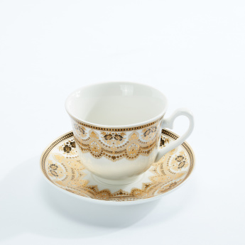 Printed 12-Piece Cup and Saucer Set with Metallic Stand