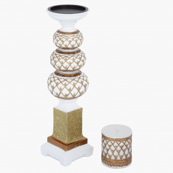 Golden Rush Candle Holder with Candle - 35.5 cms