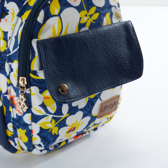 Floral Printed Backpack with Zip Closure and Adjustable Straps
