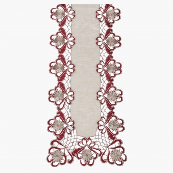 Clover Cutwork Embroidered Table Runner - 40x260 cms