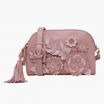 Charlotte Reid Floral Applique Crossbody Bag with Zip Closure