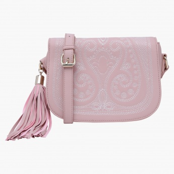 Charlotte Reid Embroidered Satchel Bag with Zip Closure
