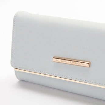 LYDC Flap Wallet with Press Button Closure and Piping Detail