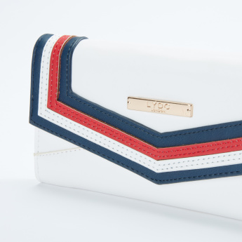 LYDC Stitch Detail Wallet with Flap and Press Button Closure