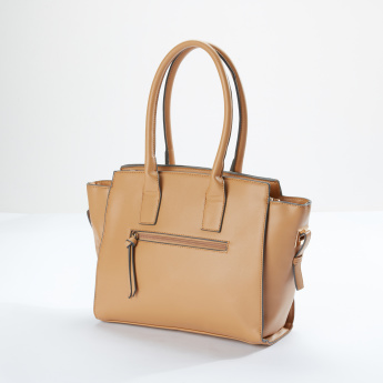 LYDC Laser Cut and Charm Detail Tote Bag with Zip Closure
