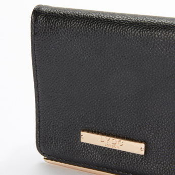 LYDC Textured Bi-Fold Wallet with Press Button Closure