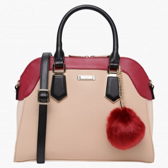 Charlotte Reid Satchel Crossbody Bag Dome Shape with Pom Pom