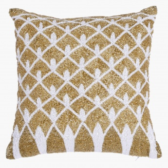 Golden Rush Embroidered Cushion - 30x30 cms