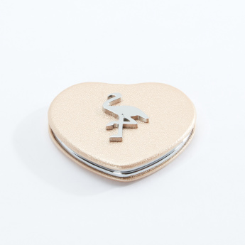 Heart Shaped Compact Mirror with Flamingo Accent