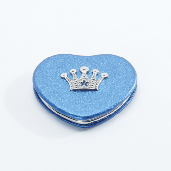 Heart Shaped Compact Mirror with Crown Accent