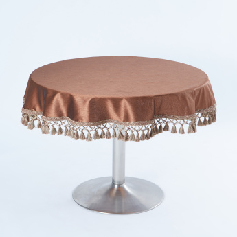 ZYRA Round Table Cover with Tassels