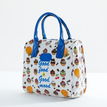 Printed Insulated Lunch Bag with Zip Closure and Handles
