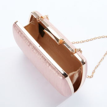 Textured Hard Case Clutch with Long Chain and Metallic Closure
