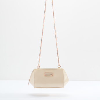 MARSHMALLOW Crossbody Bag with Metallic Chain and Zip Closure