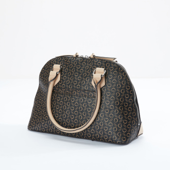 Guess Printed Dome Bag with Charm Dangler and Zip Closure