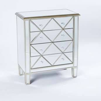 Three Hands Mirrored 4-Drawer Cabinet