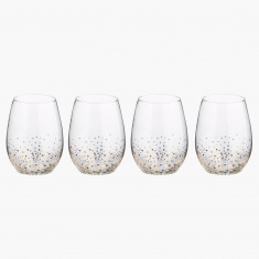 Fifth Avenue Confetti Stemless Goblet Glass - Set of 4