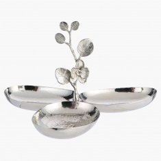 Elite d'Art Oval Triple Condiment Bowl with Orchid Flower Accent