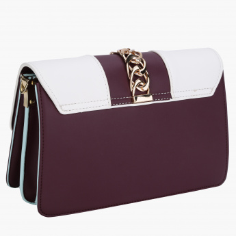 Charlotte Reid Satchel Crossbody Bag with Chain Detailing
