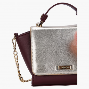 Charlotte Reid Mini Satchel Crossbody Bag with Pom Pom
