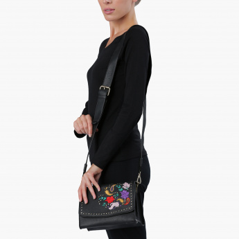 Charlotte Reid Embroidered Satchel Crossbody Bag